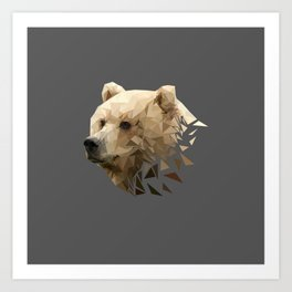 Low Poly Bear--Grey Art Print