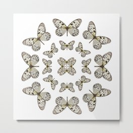 Rice Paper Butterfly Circle Metal Print