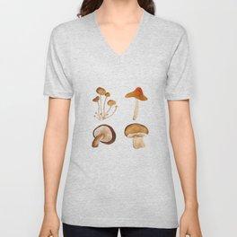 mushroom watercolor painting Unisex V-Neck