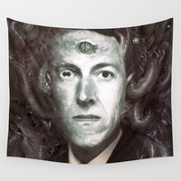 lovecraft Wall Tapestries featuring H.P. Lovecraft  by MATT DEMINO