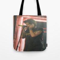 zayn malik Tote Bags featuring Zayn Malik by Halle