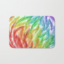 Rainbow Feathers Bath Mat