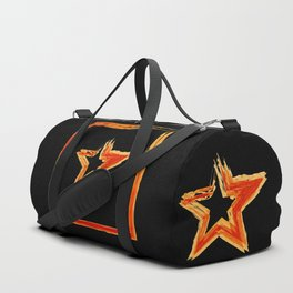Fire star in red and blue color on a black background. Duffle Bag