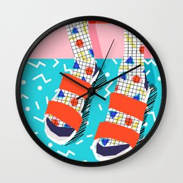 No Doi - memphis throwback retro classic style fashion 1980s 80s hipster shoes socks urban trendy Wall Clock