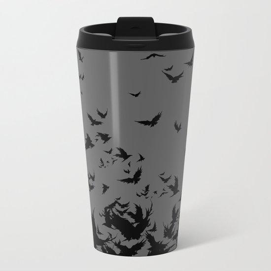 An Unkindness of Ravens (Grey) Metal Travel Mug