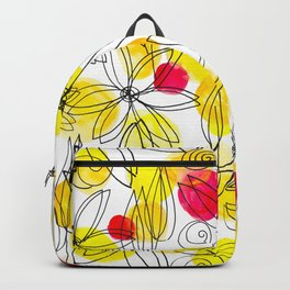 Pineapple Upside Down Floral: Bright Paint Spots with Black Ink Floral Elements Backpack
