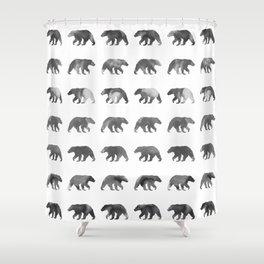 Watercolor Bear - Black & White Shower Curtain