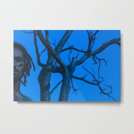Portrait blue color art strange model forest tree nature park / 46 Metal Print