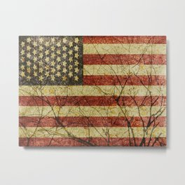 American Roots Usa Flag Grunge Design  Metal Print