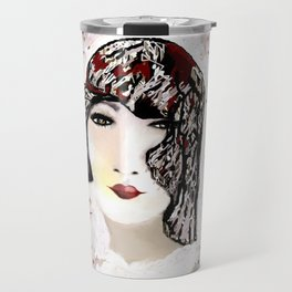 Floral 40's Queen on White,Burgundy and Black Travel Mug