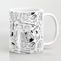 seinfeld Mugs featuring Seinfeld Pattern (White Background) by Jamie Leonard
