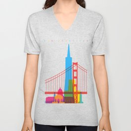 Shapes of San Francisco. Accurate to scale Unisex V-Neck