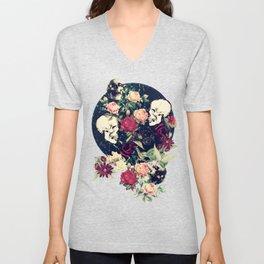 Vintage Floral With Skulls Unisex V-Neck