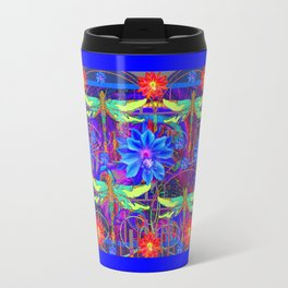Colorful Dragonfly Tropical Flowers Red-Blue Patterns Travel Mug