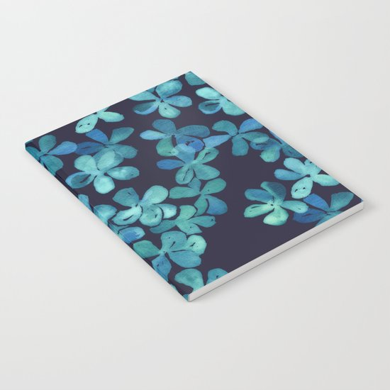 Hand Painted Floral Pattern in Teal & Navy Blue Notebook