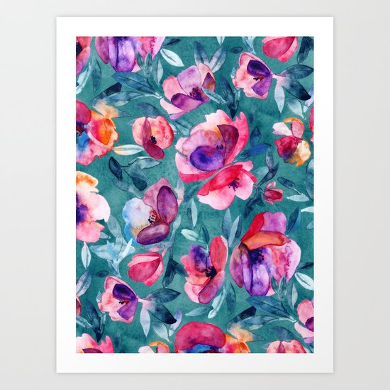 Flourish - a watercolor floral in pink and teal Art Print