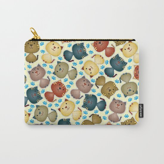 Cute Cats with Paws on the Background Carry-All Pouch