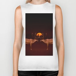 Reindeers With Moon On A Dark Purple Background #decor#buyart #society6 Biker Tank