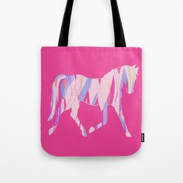 Ribbon Horse on Pink Tote Bag