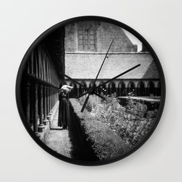 Self Portrait at Mont Saint-Michel - Holga Black and White Wall Clock