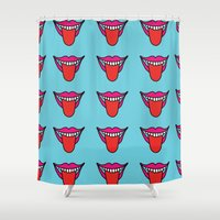 mouth Shower Curtains featuring Loud Mouth  by halmills