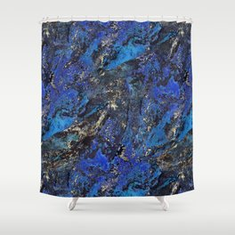 Precious Lapis Lazuli Stone Mineral Blue Gold Shower Curtain