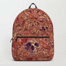 Flowery Pink Goth Rose Skull Backpack