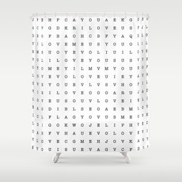 LOVE word search Shower Curtain
