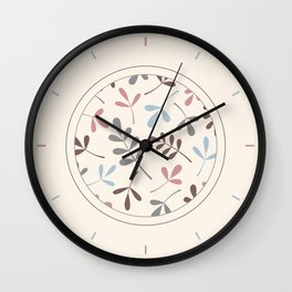 Assorted Leaf Silhouettes Pastel Colors Wall Clock