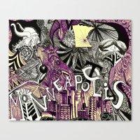 minneapolis Canvas Prints featuring Minneapolis  by Aubree Eisenwinter
