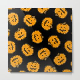 Jack O' Lantern Pattern in orange and black Metal Print