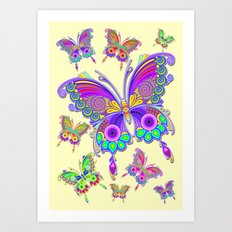 Butterfly Colorful Tattoo Style Pattern Art Print
