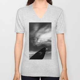 Raven Portrait at the Cliffs of Moher Unisex V-Neck