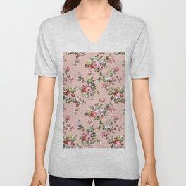 Modern Vintage Pink Coral Green Floral Pattern Unisex V-Neck