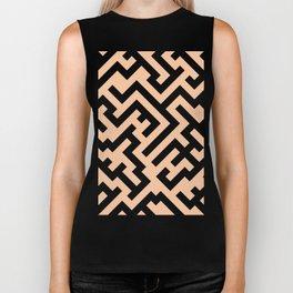 Black and Deep Peach Orange Diagonal Labyrinth Biker Tank