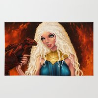 mother of dragons Area & Throw Rugs featuring Mother of Dragons by Sonia MS