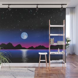 Moon Horizon 102 Black Sky Wall Mural