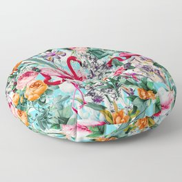 Floral and Flamingo VII pattern Floor Pillow