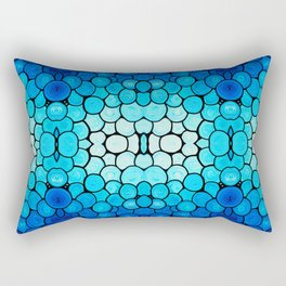 Winter Lights - Blue and White Abstract Mosaic Art By Sharon Cummings Rectangular Pillow