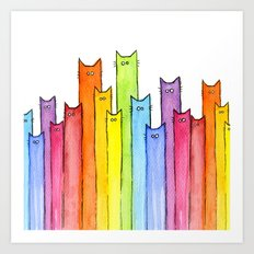 Cat Rainbow Watercolor Whimsical Animals Cats Pattern Art Print