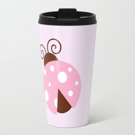 Ladybug (Ladybird, Lady Beetle) - Pink White Travel Mug