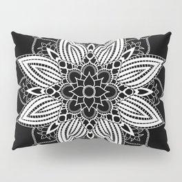 Black and White Flower Mandala Pillow Sham