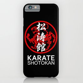 Shotokan Karate Symbol and Kanji white text iPhone Case