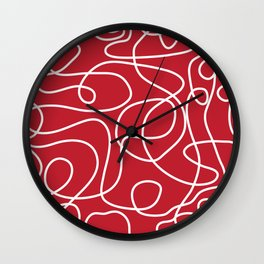 Doodle Line Art | White Lines on Dark Red Wall Clock