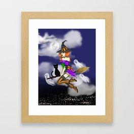 Spooky Witch Girl Framed Art Print