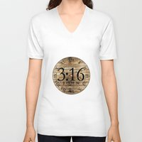 bible verses V-neck T-shirts featuring LOST VERSES FOUND by Miriam Hahn
