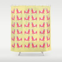llama Shower Curtains featuring Llama by Hannah Elaine Smith