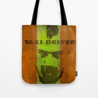 taxi driver Tote Bags featuring Taxi Driver by Joe Ganech