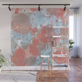 Round And Round Coral Blue Wall Mural