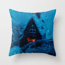 Small house in the snowy prairie- Christams winter image  Throw Pillow